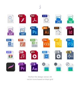 30种文件格式扁平设计风格一流设计素材网精选图标 30 File Types Icons – Flat插图2