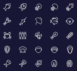 25枚海鲜美食矢量线性一流设计素材网精选图标 25 Vector Line Seafood Icons插图(2)