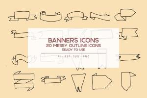 20枚横幅手绘草图矢量轮廓一流设计素材网精选图标 Banners outline Icons Set插图1