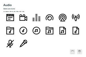 音频/多媒体播放主题矢量线性一流设计素材网精选图标 Audio Mini Bold Line Vector Icons插图2