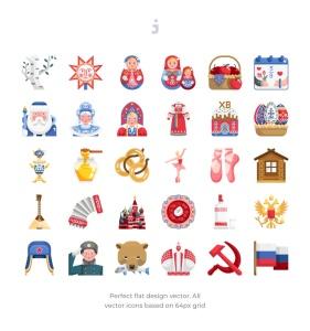 30枚扁平设计风格俄罗斯民族元素矢量一流设计素材网精选图标 30 Russia Element Icons – Flat插图2