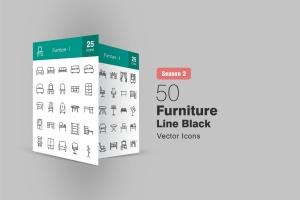 50枚家具系列线性一流设计素材网精选图标 II 50 Furniture Line Icons Season II插图1