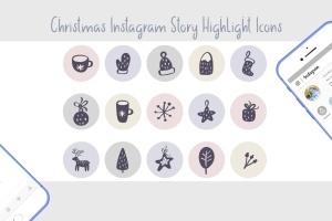 圣诞节主题矢量手绘一流设计素材网精选图标素材 Christmas Instagram highlight story icons插图4