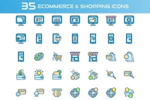 35枚电子商务&购物主题矢量一流设计素材网精选图标 E-commerce and Shopping Icons插图2