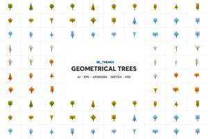 树木几何图形一流设计素材网精选图标矢量设计模板 Geometrical Trees Icon Template插图2