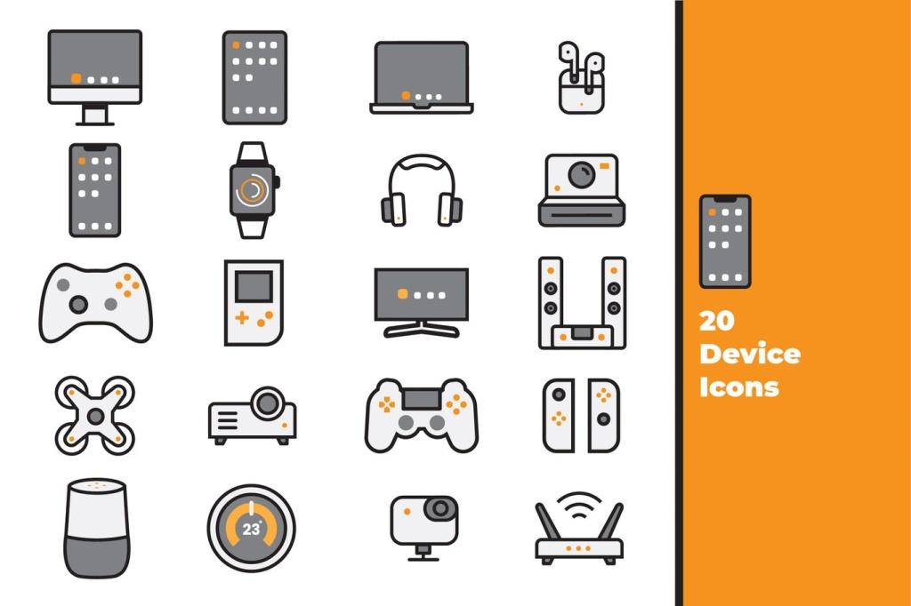 20种电子设备矢量一流设计素材网精选图标素材 Device Icons插图