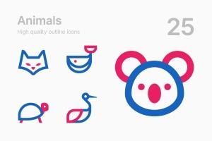 25枚动物简笔画图形矢量一流设计素材网精选图标v2 Animals #2插图(1)