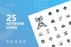网络科技主题矢量字体一流设计素材网精选图标 Network Glyph Icons插图(1)