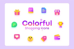 丰富多彩电子商务购物矢量一流设计素材网精选图标 Colorful Shopping, ecommerce Illustration Icons插图1