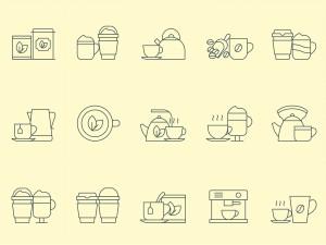 咖啡&茶文化主题矢量线性一流设计素材网精选图标 Coffee and Tea Vector Icons插图1