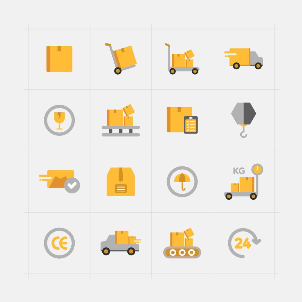 16枚快递配送主题矢量彩色一流设计素材网精选图标 16 Delivery Vector Icons插图