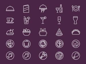 25枚餐厅菜单设计 可用的矢量线性一流设计素材网精选图标 25 Restaurant Menu Icons插图(1)