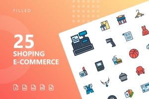 25枚网上购物电子商务矢量填充色一流设计素材网精选图标v2 Shopping E-Commerce Filled Icons插图(1)
