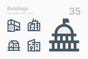 35枚建筑轮廓线矢量一流设计素材网精选图标 Buildings插图1