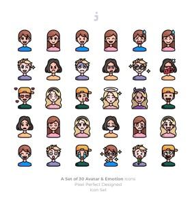 30枚彩色人物头像&表情矢量一流设计素材网精选图标 30 Avatar and Emotion Icons插图2