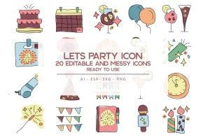 20枚活动派对主题手绘设计风格矢量一流设计素材网精选图标 Let's Party Icons Set插图1