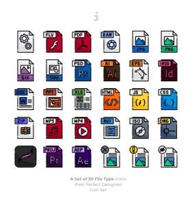 30种文件格式矢量一流设计素材网精选图标 30 File Type Icons插图2