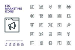25枚SEO搜索引擎优化营销矢量线性一流设计素材网精选图标v2 SEO Marketing Line Icons插图2