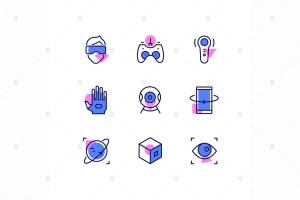 虚拟现实主题线条设计风格矢量一流设计素材网精选图标 Virtual reality – line design style icons set插图(1)