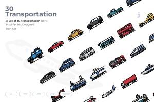 30枚现代交通工具矢量一流设计素材网精选图标 30 Transportation Icons插图(1)