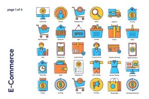85枚电子商务主题矢量一流设计素材网精选图标 E-Commerce Icon Set插图(2)