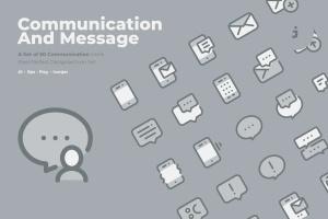 50枚社交通讯主题双色调矢量一流设计素材网精选图标 50 Communication Icons  –  Two Tone Style插图1
