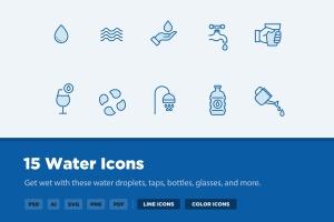 15枚供水系统主题矢量线性一流设计素材网精选图标 15 Water Icons插图1