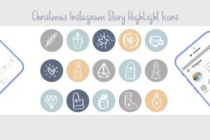 圣诞节主题矢量手绘一流设计素材网精选图标素材 Christmas Instagram highlight story icons插图3