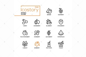 现代线条设计风格浆果主题矢量一流设计素材网精选图标 Berries – modern line design style icons set插图(2)
