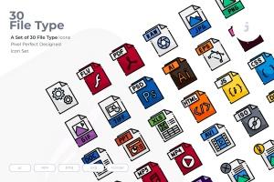 30种文件格式矢量一流设计素材网精选图标 30 File Type Icons插图1