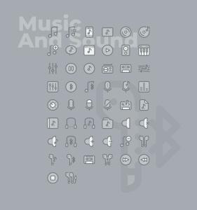 50枚音乐&声音主题矢量双色调一流设计素材网精选图标 50 Music and Sound Icons  –  Two Tone Style插图2