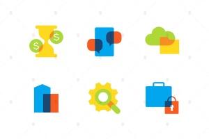 商业&金融主题扁平设计风格矢量一流设计素材网精选图标 Business and finance – flat design style icons set插图(1)