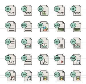 50枚文件格式填充线性一流设计素材网精选图标 II 50 File Formats Filled Line Icons Season II插图(2)