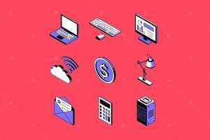 数字办公室主题矢量一流设计素材网精选图标 Digital office concept isometric icons set插图1