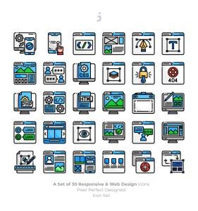 30枚彩色响应式网站设计矢量一流设计素材网精选图标 30 Responsive & Web Design Icons插图2
