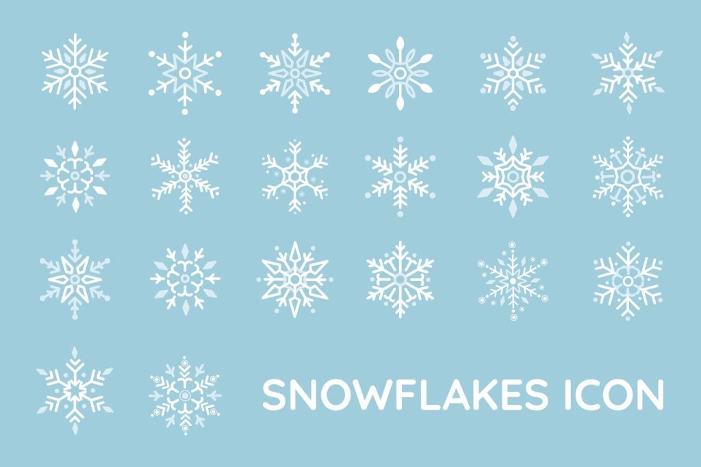 20种雪花图形矢量一流设计素材网精选图标 Snowflakes Icon插图