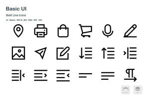基础UI设计操作选项矢量线性一流设计素材网精选图标 Basic User Interface Mini Bold Line Vector Icons插图4