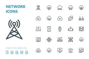 网络科技主题矢量线性一流设计素材网精选图标 Network Lineart Icons插图2