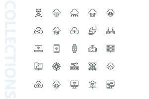 网络科技主题矢量线性一流设计素材网精选图标 Network Lineart Icons插图4