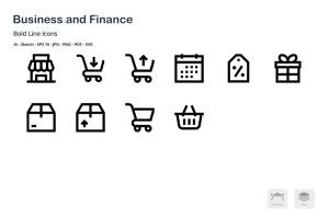 商业&金融主题粗线条风格矢量一流设计素材网精选图标 Business and Finance Mini Bold Line Icons插图5
