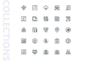25枚SEO搜索引擎优化营销矢量线性一流设计素材网精选图标v1 SEO Marketing Line Icons插图(4)