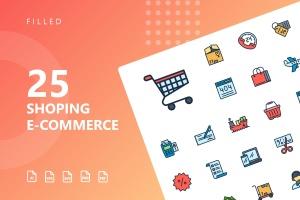 25枚网上购物电子商务矢量填充色一流设计素材网精选图标v1 Shopping E-Commerce Filled Icons插图1