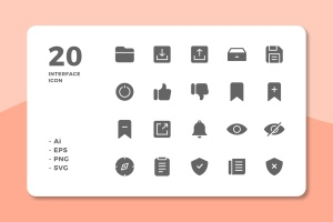 20枚UI界面设计APP操作选项一流设计素材网精选图标v3 20 Interface Icons Vol.3 (Solid)插图1