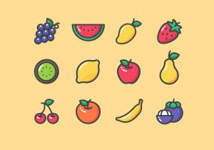 12枚常见水果矢量彩色一流设计素材网精选图标 12 Colored Fruit Icons – Illustrator & Sketch插图2