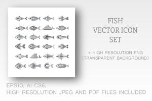 各种鱼类矢量一流设计素材网精选图标素材 Fish vector icon set (3 options)插图1