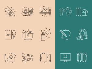 艺术家工具矢量线性一流设计素材网精选图标 Artist Tools Vector Icons插图1