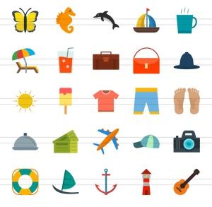 50枚夏天主题扁平化多彩矢量一流设计素材网精选图标 II 50 Summer Flat Multicolor Icons Season II插图3