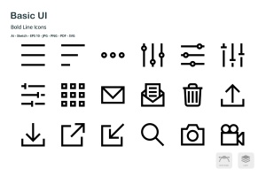 基础UI设计操作选项矢量线性一流设计素材网精选图标 Basic User Interface Mini Bold Line Vector Icons插图1