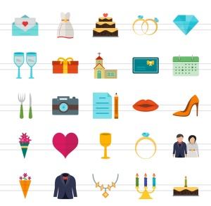 50枚婚礼婚宴主题扁平设计风彩色一流设计素材网精选图标 II 50 Wedding Flat Multicolor Icons Season II插图2