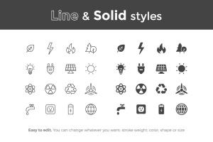 16枚生态环境主题矢量线性&Solid一流设计素材网精选图标 Ecology Icons插图2